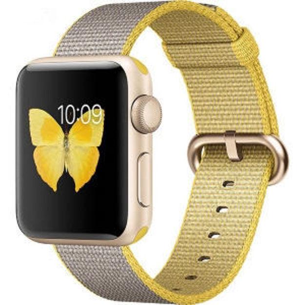 ساعت هوشمند اپل واچ 2 مدل - 38MM GOLD ALUMINUM WITH YELLOW GRAY NYLON BAND
