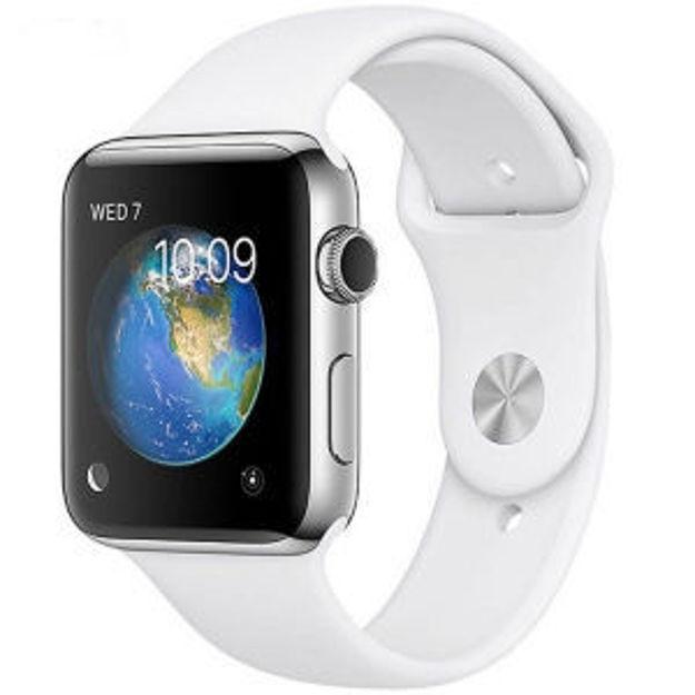 ساعت هوشمند اپل واچ 2 مدل - 42MM STAINLESS STEEL CASE WITH WHITE SPORT BAND